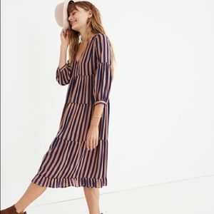 Madewell striped satin midi dress